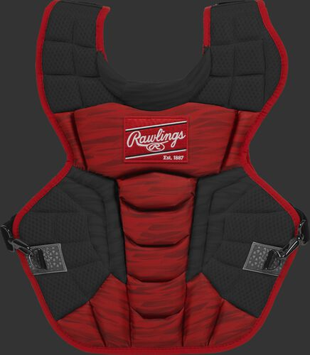 A scarlet/black CPV2N Rawlings Velo 2.0 adult chest protector with a striped pattern
