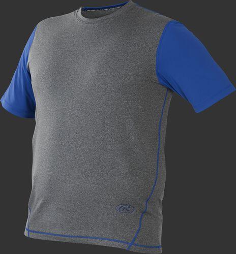 Front of Rawlings Gray/Royal Adult Hurler Performance Short Sleeve Shirt - SKU #HSS