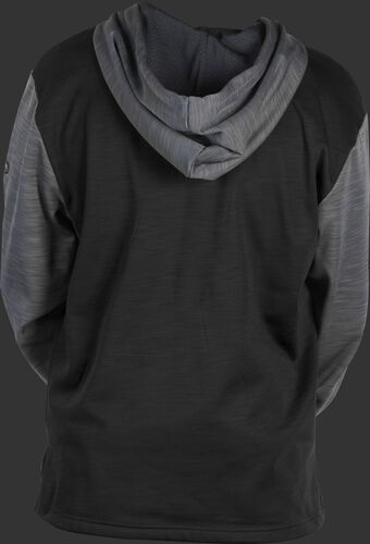 Back of a black fleece hoodie with gray sleeves and hood - SKU: PFH2PRBB-B/GR