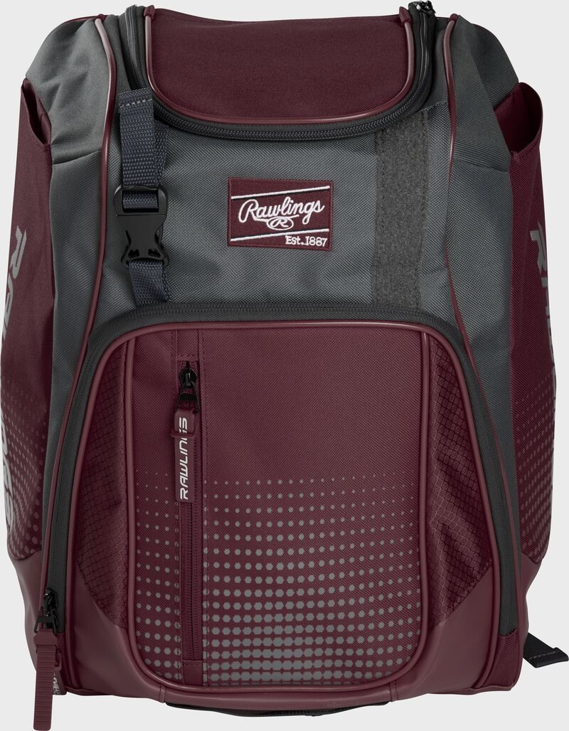 Front of a maroon Franchise baseball backpack with gray accents and a maroon Rawlings patch - SKU: FRANBP-MA