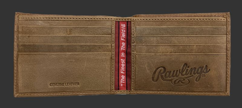 Inside of a tan Rawlings American Story bi-fold wallet with multiple credit card slots - SKU: RPW001-204
