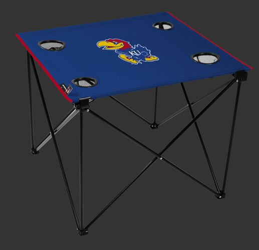 A blue NCAA Kansas Jayhawks deluxe tailgate table with four cup holders and team logo printed in the middle SKU #00713034111