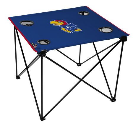 A blue NCAA Kansas Jayhawks deluxe tailgate table with four cup holders and team logo printed in the middle