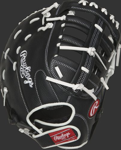RSOFBMBW 13-inch Shut Out fast pitch first base mitt with a black back and Velcro wrist strap