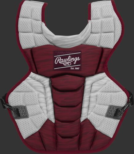 A cardinal/white CPV2N Rawlings Velo 2.0 adult chest protector with a striped pattern