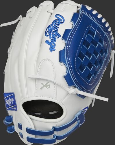 RLA120-3R 12-inch Liberty Advanced infield/pitcher's Basket web glove with a white back and adjustable pull-strap