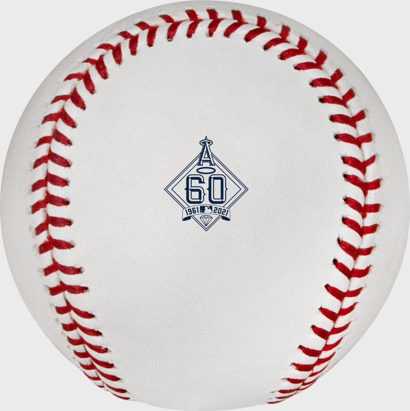 Los Angeles Angels 60 year anniversary logo stamped on a Major League baseball - SKU: EA-ROMLBLAA60-R