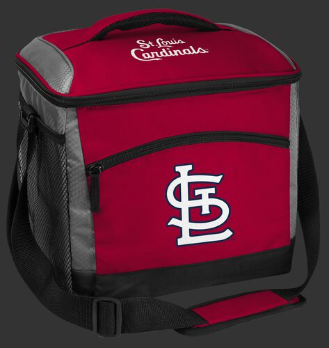 A red St. Louis Cardinals 24 can soft sided cooler with screen printed team logos - SKU: 10200007111