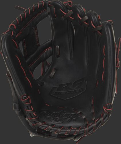 Palm view of a R9YPT2-2B 11.25-inch Rawlings R9 Series youth baseball glove with a black palm and black/scarlet laces