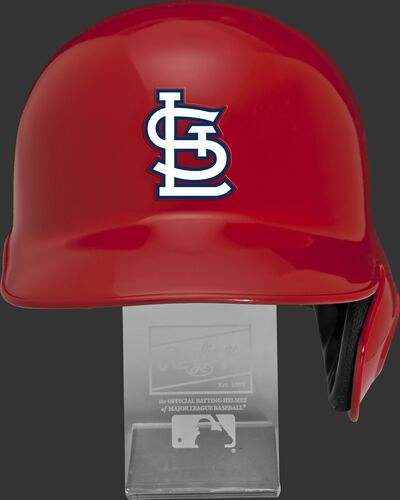 Front of a MLBRL-STL MLB St. Louis Cardinals replica helmet on a display stand