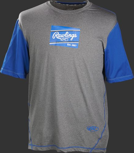A gray/royal Rawlings adult Hurler performance short sleeve shirt with a royal Rawlings logo on the chest - SKU: HSSP-GR/R