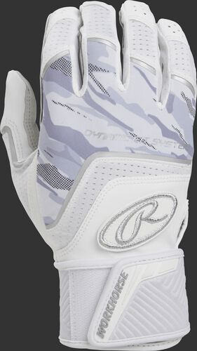 Back of a white WHCSBG adult Workhorse batting glove with camo finger backs