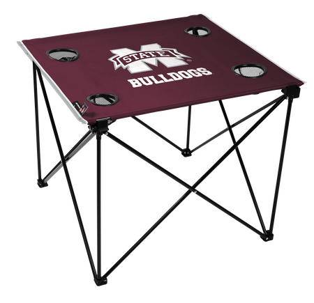 A maroon NCAA Mississippi State Bulldogs deluxe tailgate table with four cup holders and team logo printed in the middle