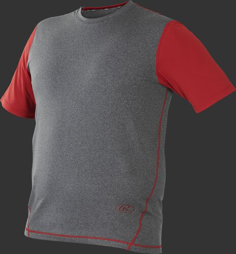 Front of Rawlings Gray/Scarlet Adult Hurler Performance Short Sleeve Shirt - SKU #HSS