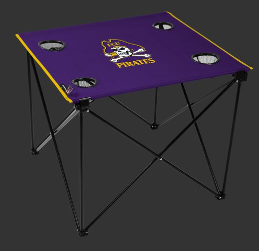A pulpy NCAA East Carolina Pirates deluxe tailgate table with four cup holders and team logo printed in the middle SKU #00713017111