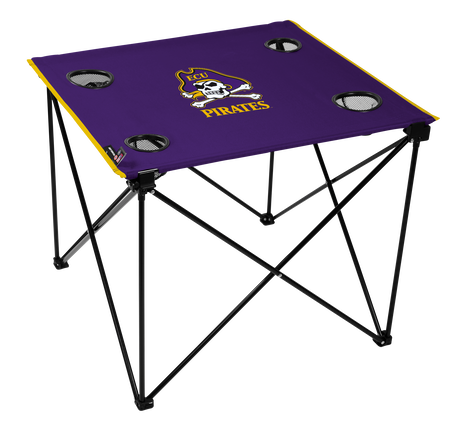 A pulpy NCAA East Carolina Pirates deluxe tailgate table with four cup holders and team logo printed in the middle