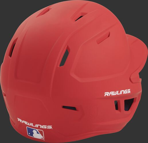 Back right of a one-tone matte scarlet MACH Rawlings senior size batting helmet