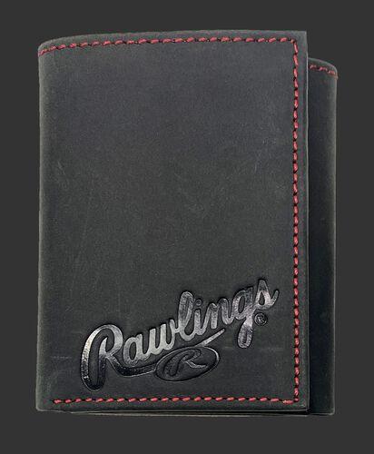 A black high grade debossed tri-fold wallet with the Rawlings script logo debossed on the bottom right corner - SKU: RPW005-001