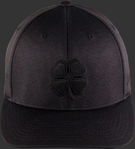 Front of a black Blackout fitted Black Clover hat with a black clover leaf logo - SKU: BC0BO00071