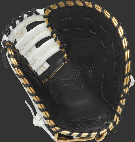ECFBM Rawlings Encore youth first base mitt with a black palm and black laces