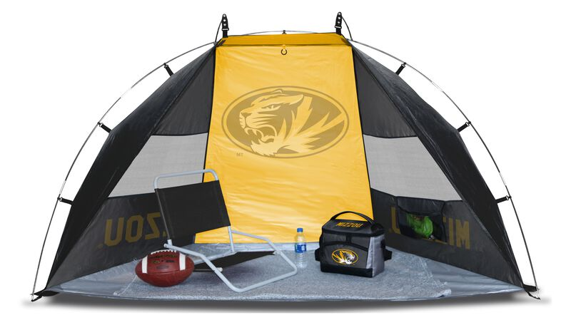 A Missouri Tigers sideline sun shelter set up with a chair, cooler, football and water bottle - SKU: 00973086111