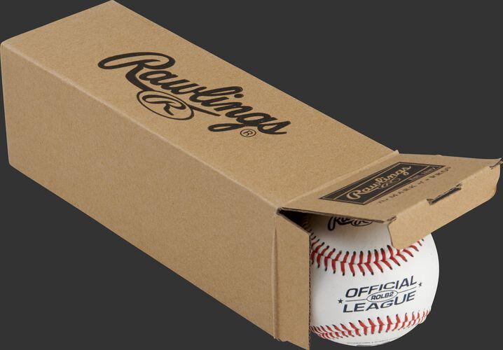 Official League ROLB2 baseballs inside a Rawlings box - SKU: RSGROLB2PK3
