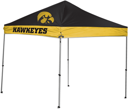 NCAA Iowa Hawkeyes 9x9 canopy in black/yellow team colors with a logo printed on top