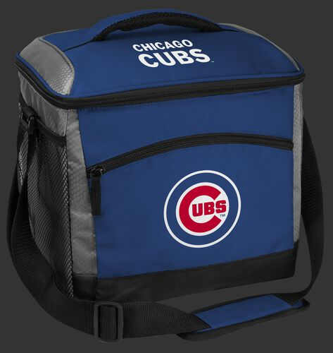 A blue Chicago Cubs 24 can soft sided cooler with screen printed team logos - SKU: 10200008111