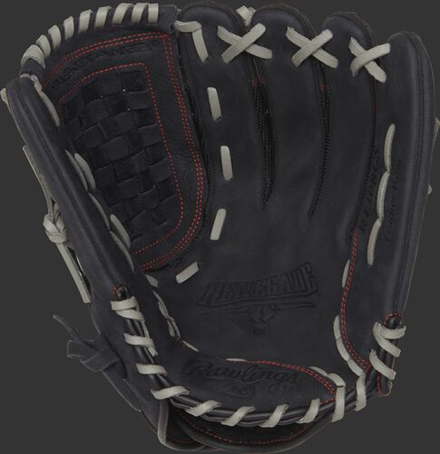 Palm view of a R130BGS Rawlings Renegade Series recreational baseball/softball glove with a black palm and grey laces