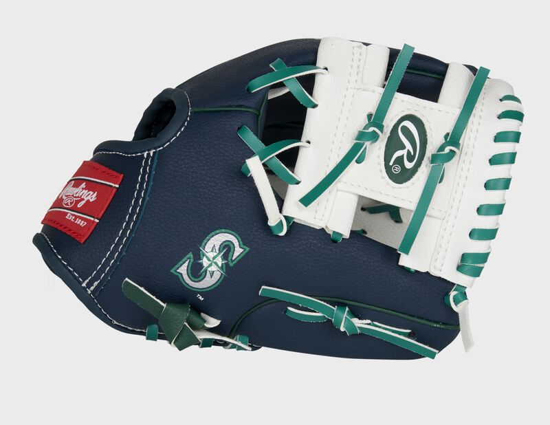 Thumb of a navy/white Seattle Mariners 10-Inch team logo glove with a white I-web and Mariners logo on the thumb - SKU: 22000015111