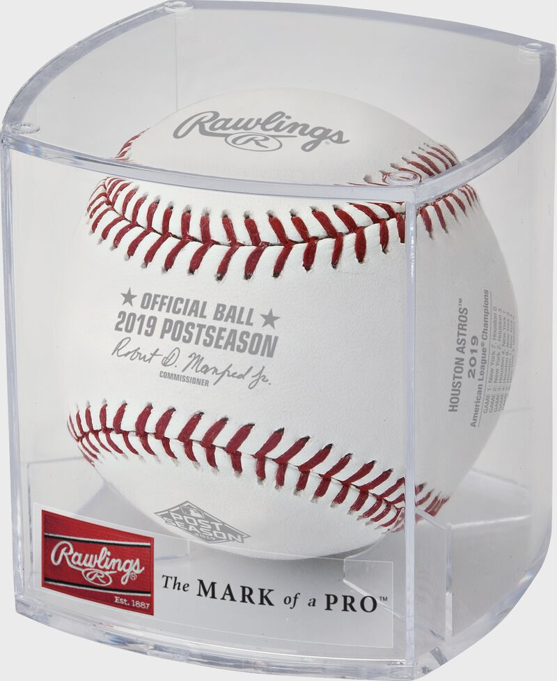 ALCS19CHMP 2019 ALCS Champions baseball in a clear display cube