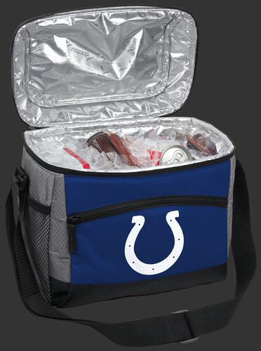 An open Indianapolis Colts 12 can cooler filled with ice and drinks - SKU: 10111070111