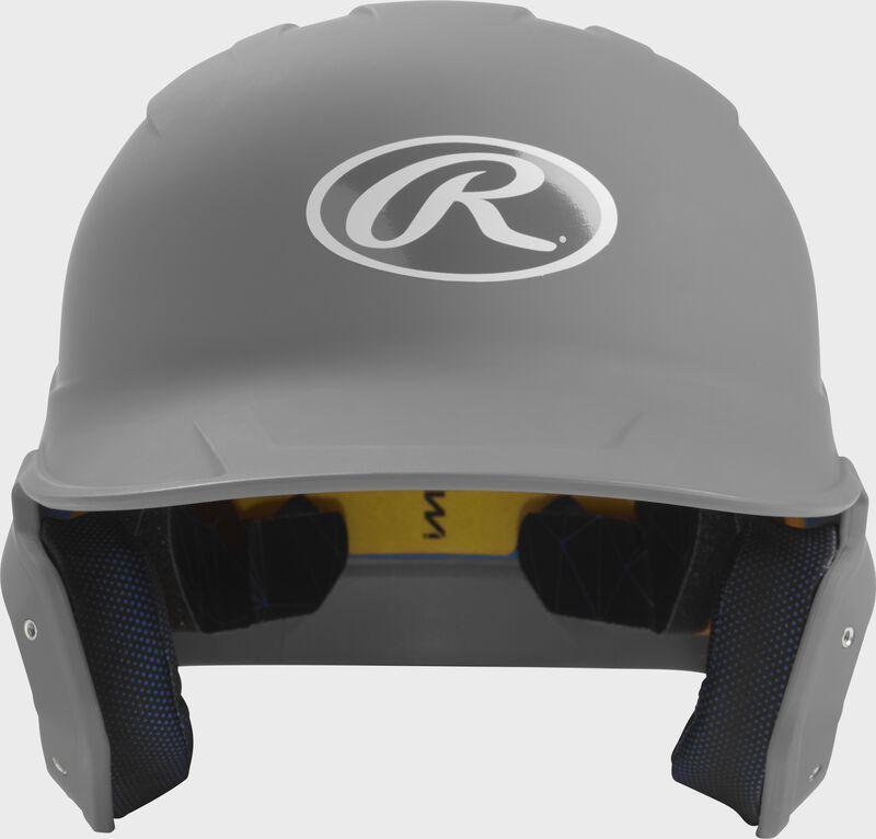 Front of a matte silver MACH junior size batting helmet