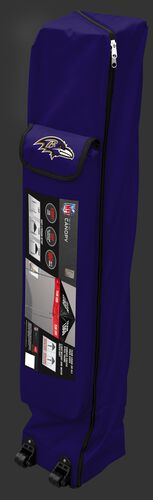 Purple wheeled carry case of a Baltimore Ravens canopy with the team logo on the outside compartment - SKU: 02231092111