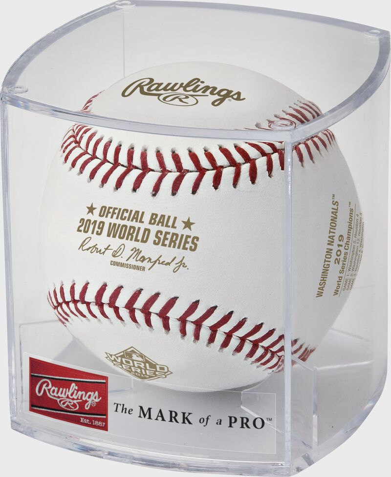 A WSBB19CHMP Washington Nationals 2019 World Series baseball in a clear display cube
