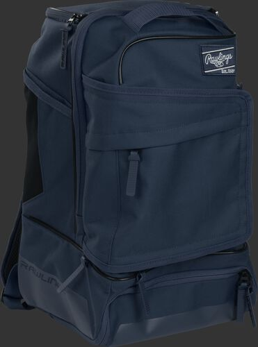 Right angle of a navy R701 baseball backpack