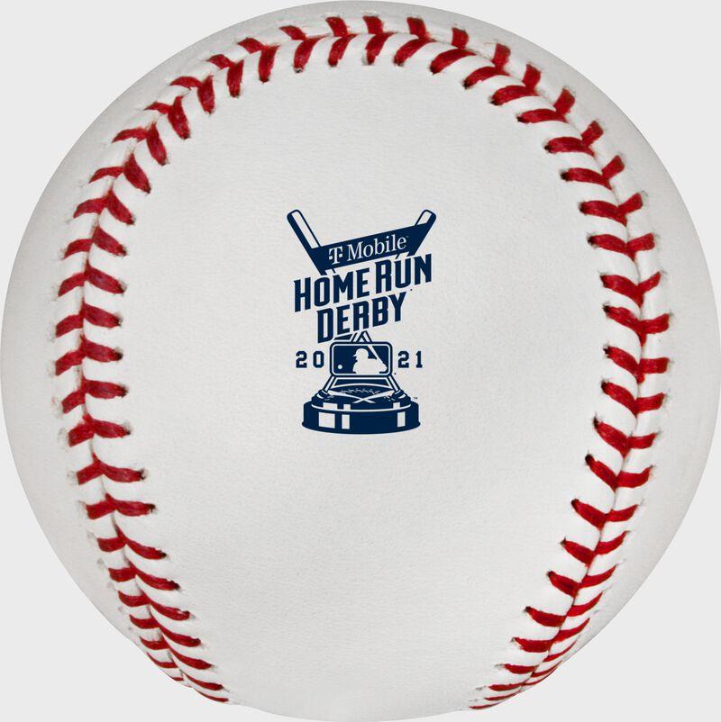 The 2021 MLB Home Run Derby logo stamped on a MLB baseball - SKU: RSGEA-ROMLBHR21-R