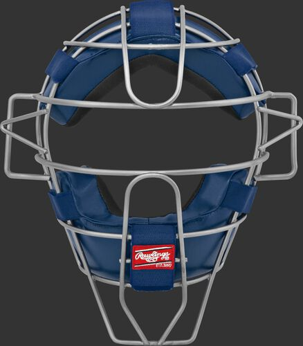 A LWMX2 adult lightweight hollow wire catcher/umpire mask with navy padding and silver cage