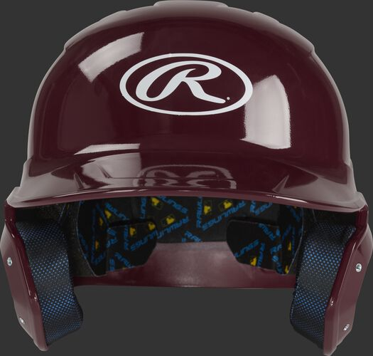 Front of a maroon MCH01A Rawlings Mach batting helmet with an Oval R logo