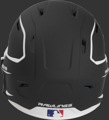 Back of a MACHEXTR high performance junior MACH helmet with a matte black/white shell and Official Batting Helmet of MLB logo