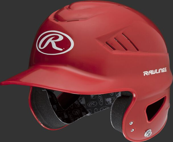 A scarlet Coolflo batting helmet with an Oval-R logo on the front - SKU: RCFH