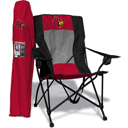 Front of Rawlings Black and Red NCAA Louisville Cardinals High Back Chair With Team Logo SKU #09403078518