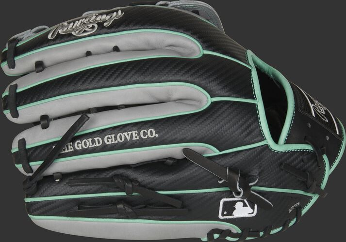 Black Hyper Shell fingers on a 2020 Rawlings HOH outfield glove with the MLB logo on the pinkie - SKU: PRO3319-6BGCF