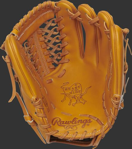 Palm of a tan 2021 Rawlings HOH R2G infield/pitcher's glove with a tan web and laces - SKU: PROR205-4T