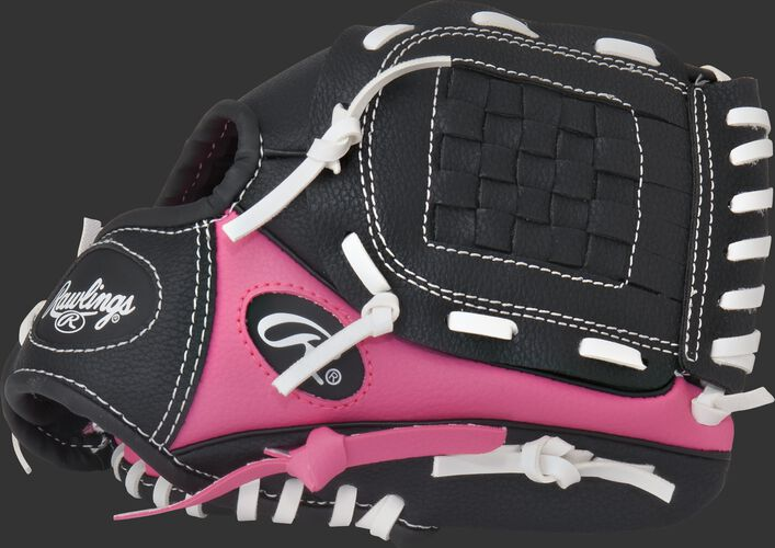 Thumb of a black/pink Players Series 9-inch T-ball glove with a black basket web - SKU: ACAPL91PB