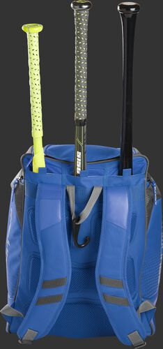 Back of a royal Rawlings Legion baseball bag with 3 bats in the bat storage sleeve - SKU: LEGION-R