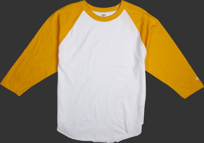 MTT3000 Adult 3/4 sleeve crew neck shirt with a white body and light gold sleeves