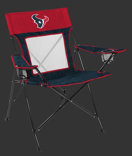 A blue/red Houston Texans Game Changer chair with a mesh back and team logo on top