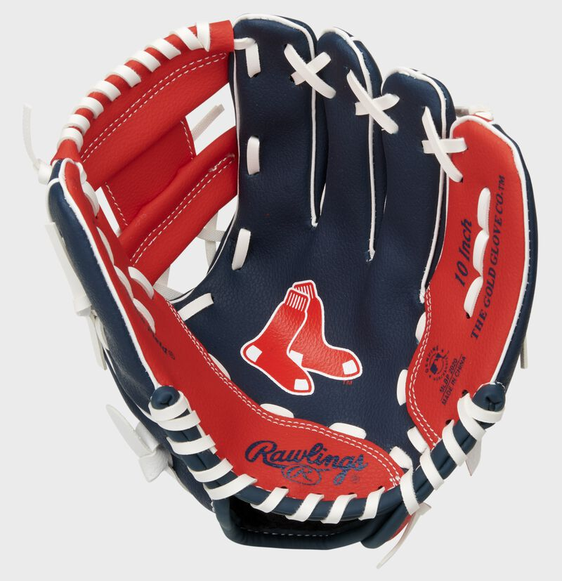 A navy/red Rawlings Boston Red Sox youth glove with the Red Sox logo stamped in the palm - SKU: 22000024111