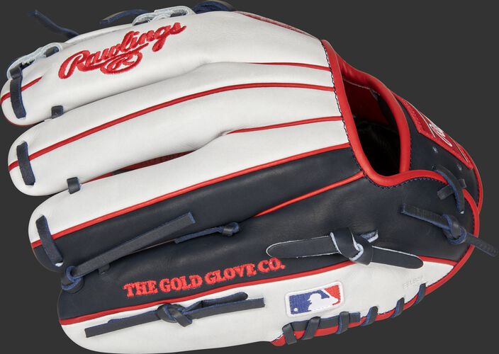 White/navy back of a Boston Red Sox Heart of the Hide glove with the MLB logo on the pinky - SKU: RSGPRONP4-2BOS
